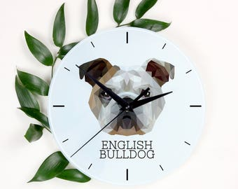 A clock with a Bulldog, English Bulldog dog. A new collection with the geometric dog