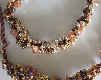Beaded Kumihimo necklace and bracelet set