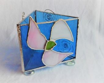 Triangular Floral Tea Light Holder Stained Glass Handmade Housewarming Gift Wedding Gift Translucent Blue Pink Flower