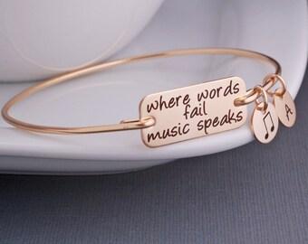 Music Bracelet, Where Words Fail Music Speaks Bangle Bracelet, Music Lover Jewelry Gift, Music Note