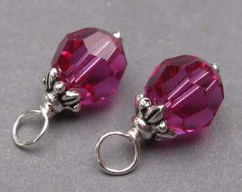 Swarovski Crystal Charms,  Fucshia Pink Crystal, Wire Wrapped Bead Dangles, Bracelet Charms, Interchangeable Earrings 8mm