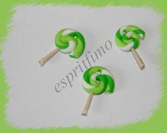 """Candy Apple green"" charm in polymer clay"