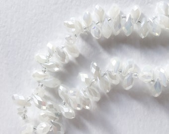 Opaque White Briolette Beads, Faceted Glass Teardrop Beads, Waterdrop Glass Beads, 6x12mm - 98 beads