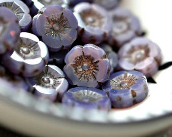 Purple Whispers - Premium Czech Glass Beads, Opalite, Milky Lavender, Brown Picasso Finish, Small Hawaiian Daisy Flowers 12mm - Pc6