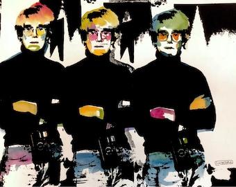 "Andy Warhol ""Tripple Threat"" - Silk screen art - Edie Sedgwick - pop art - mixed media art - watercolor"