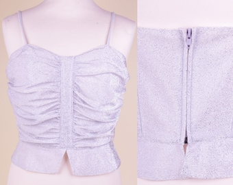 Vtg Silver Lurex Top (X)S // Sparkle Pin-up Party Top