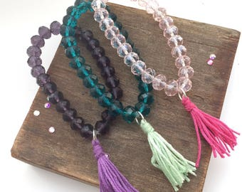 Crystal bead jewelry, crystal bead bracelet, bead jewelry, bead jewellery, crystal jewelry, crystal jewellery, tassel bracelet, boho tassel,