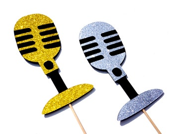 Photo Booth Props - GLITTER Vintage Microphones - Set of 2 - Silver and Gold GLITTER Photobooth Props