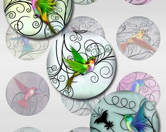 Hummingbirds Pastel Watercolor Paper Instant Download for Glass Resin Pendants Digital 2,1,1.5 Inch Round Jpeg  Images (S-28)