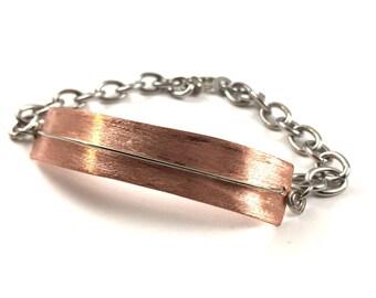 Bar Bracelet Handmade Large Mixed Metal Jewelry