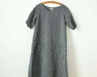 a-line navy and off white striped linen dress with pockets in medium, large and extra large