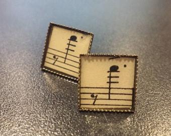 Vintage Sheet Music Post Earrings Antique Bronze 12 mm, Music Teacher, Musician, Recital, Unique Gift