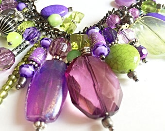 Purple and green necklace, multi color necklace, beaded necklace, statement necklace, handmade jewelry