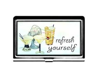 Refresh Yourself Business Card Case vintage imagne fan cool drinks Credit Card Holder stainless steel card case summer cool down bartender