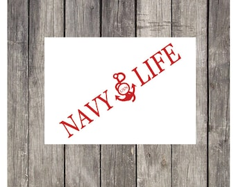 Vinyl Decal, Car Decal, Car Sticker, Navy Decal, Laptop Decal, Phone Decal, Cooler Decal, Military Decal, Gift Under 20, Navy, Navy Gift