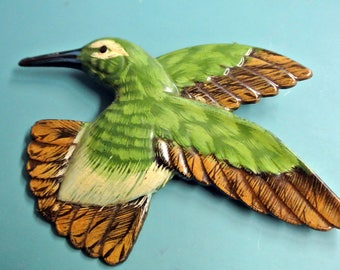 Lovely LARGE vintage 1950s brown/ green plastic bird brooch