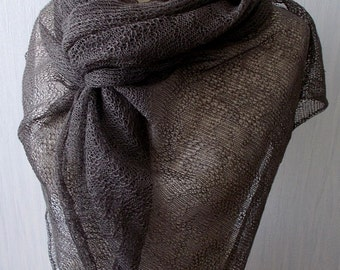 Linen Scarf Shawl Knitted Natural Summer Wrap in Earth Brown Taupe