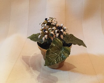 Enamel over Brass Miniature Potted Flowers