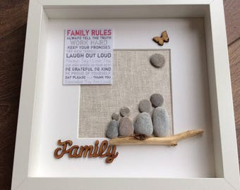 Pebble art family of four, home gift, moving in gift, present for family, mothers day gift, family of four, home gift, Father's Day gift,