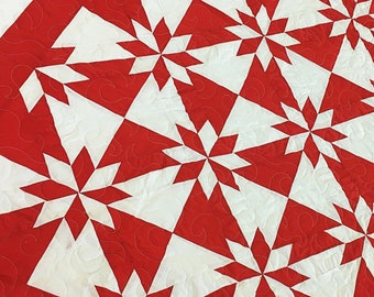 Red and WhiteStar Feild - Bold Graphic look FINISHED QUILT