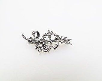 Antique Art Deco Silver and Marcasite Flower/Tree Branch Pin Brooch