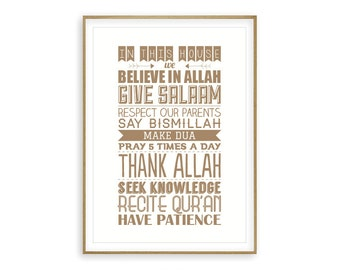 House Rules - Islamic Poster, In this house we, Home Decor, Islamic Art, Islamic Print, Islamic quote