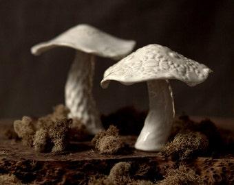 Paar weiße Keramik Waldpilze.  Wohnkultur, Hochzeitsgeschenk für Naturliebhaber.