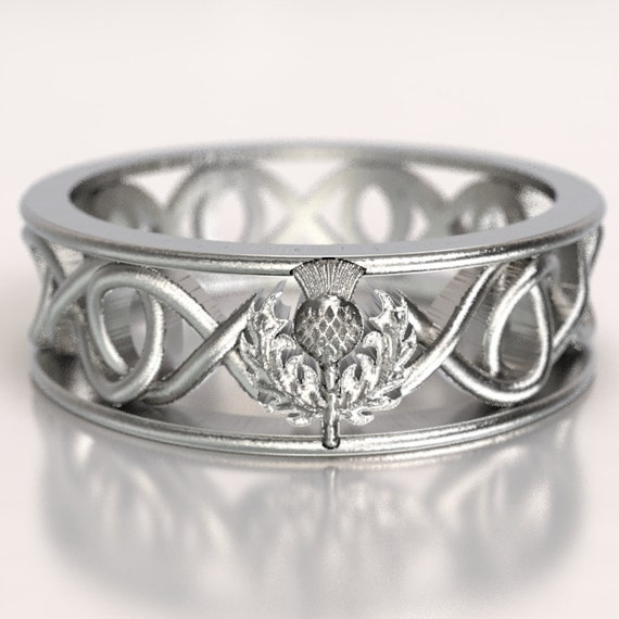 Celtic Scottish Thistle Ring, Infinity Ring, Scottish Thistle Jewelry, Scottish Wedding Band, Sterling Silver Botanical Jewelry, CR-5015