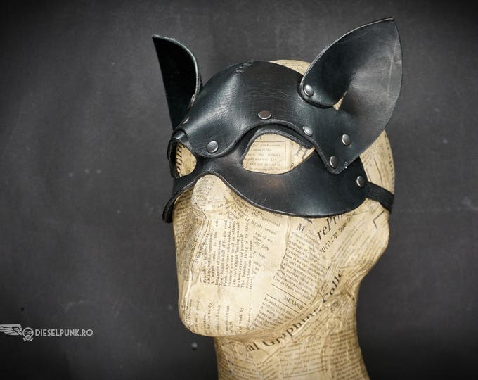 Cat Mask - Leather Mask - Cosplay Mask - fetish mask - animal mask