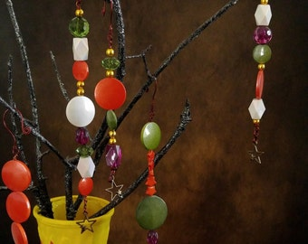 Beaded Halloween Autumn Ornaments set of 5