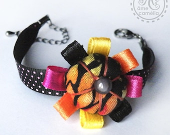 Bracelet Hippie Pop fabric, black, orange and pink flower