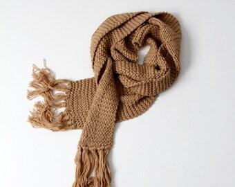 vintage knit scarf, XL tan scarf with tassels