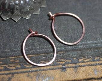 Copper Hoop Earrings Hammered Hoops Small to Medium Hoops One Inch