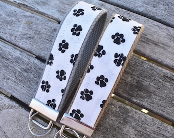 Paw Print Key Fob,Dog Key Chain, Paw Pattern Wristlet,Dog Car Keys Accessory,YOU CHOOSE 1.25 inch, gifts for her, daughter, dog lover, mom