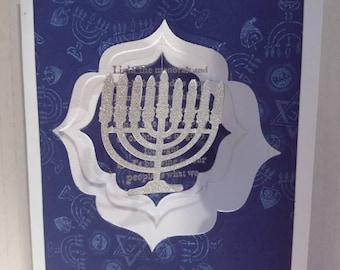 Floating Menorah Hanukkah Greeting Card