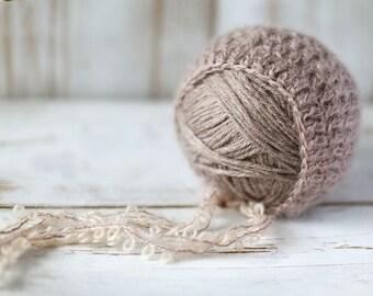 Newborn hat, newborn mohair bonnet, baby girl hat, hat, new born photo prop, photography