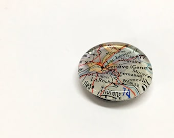 NEW Vintage Map Magnet - Ready to ship - Geneva Switzerland - souvenir - vacation - holiday - guy gift - Europe