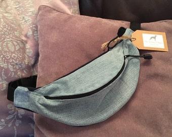 Denim Bum Bag - Two pockets - Fleece Backed