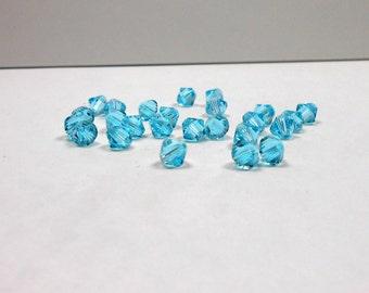 25 Light Turquoise Swarovski Bicones, 6mm