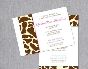 Giraffe Print Baby Shower Invitations - Giraffe Baby Shower Invites - Giraffe Print Birth Announcements - Animal Print Invitations