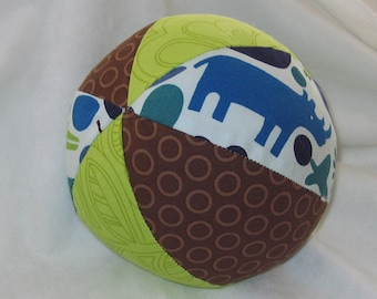 Blue 2D Zoo Fabric Ball Rattle Toy - SALE