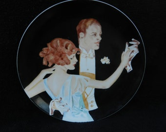 Vintage charger Plate: Hand painted porcelain