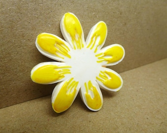 Hand Stamped White Clay Sun Burst Yellow Flower Brooch Pin Badge