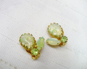 Gorgeous Vintage Green and Gold Clip on Earrings -gold tone metal -clip on style - varying shades green - IRISH wedding - Bridal -Bridesmaid