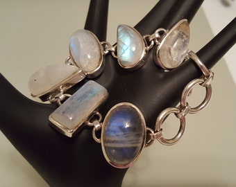 Bold Shapes of Rainbow Moonstone Sterling Silver Toggle Clasp Bracelet - Fits Sizes 6-1/4 to 8-1/4 Inches