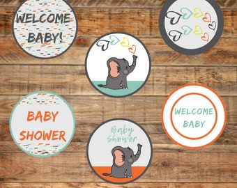 Baby Elephant Sprinkle Baby Shower Printable Cupcake Toppers
