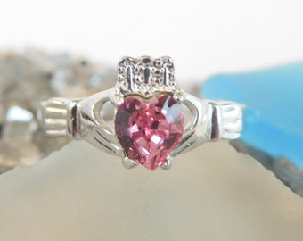 Pink Tourmaline CZ Birthstone Claddagh Ring -Sterling Silver made with Swarovski Stones. October Birthstone*