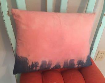 Dip Dyed Pink Throw Pillow