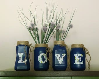 LOVE Decorative Jars, Upcycled Jars, Flower Vases, Shabby chic jars, Home decor, Burlap