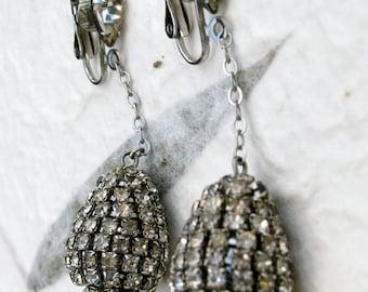 Long Glamorous Teardrop or Pear Shape Rhinestone Earrings